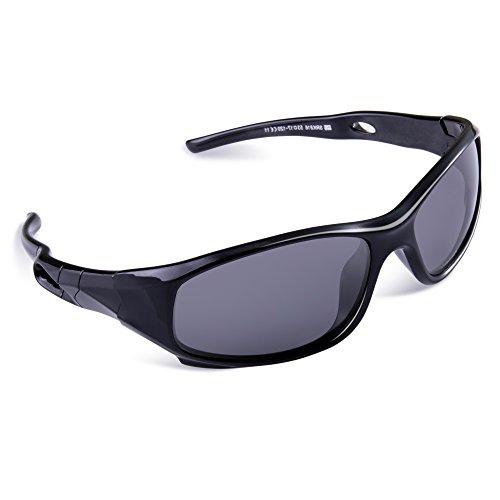 SEEKWAY Kid's Polarized Silicon Rubber Sunglasses For Toddlers Children Age 3-10 SRK816(Black&Black,Black Polarized Lens)