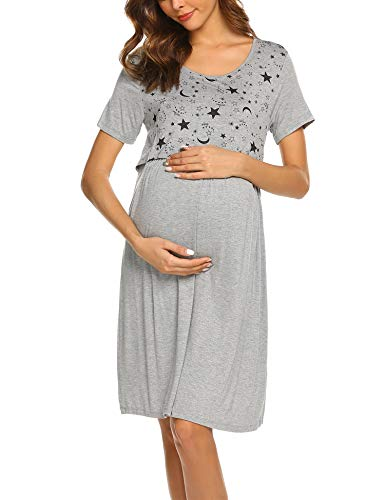 Hotouch Maternity Labor Delivery Nursing Dress Hospital Bag Must Have Women Nightgown Grey XL