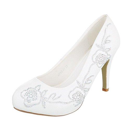 Ital-Design High Heel Damenschuhe Plateau Pfennig-/Stilettoabsatz High Heels Pumps Weiß