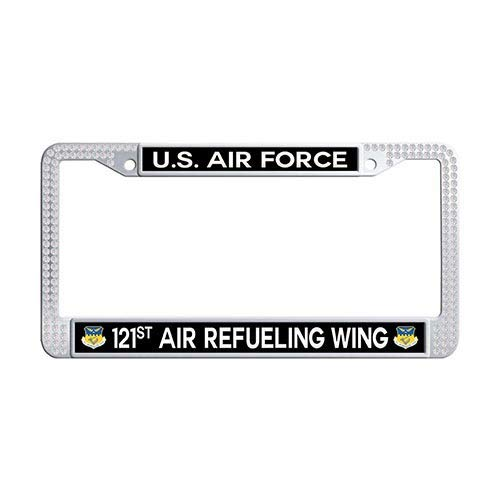 Framespolish US Air Force 121st Air Refueling Wing Auto License Cover Holder White Rhinestones License Frame Car ()