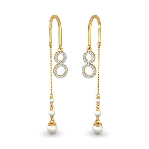 14 K Or jaune 0,16 CT TW White-diamond (IJ | SI) et blanc perle Pendants d'oreilles