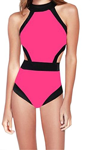 One Piece High Waist Monokinis Bandeau Rose Pink Padded Bathing Suit (S,Rose ) ()