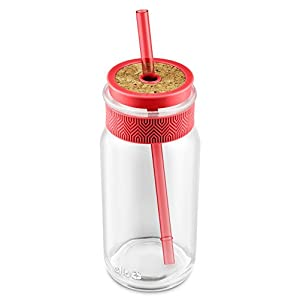 Ello Kella BPA-Free Glass Sipper with Straw, Coral, 20 oz.