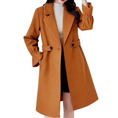 Sunhusing Women Winter Vintage Solid Color Long Sleeve Button-Down Woolen Jacket Work Office (Solid Gold Womens Mini Watch)
