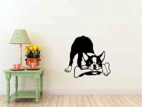 Mural Decal Art Home Decor Cute Dog Quote Wall Sticker Boston Terrier Dog for Bedroom Living Room Nursery Kids Room ()