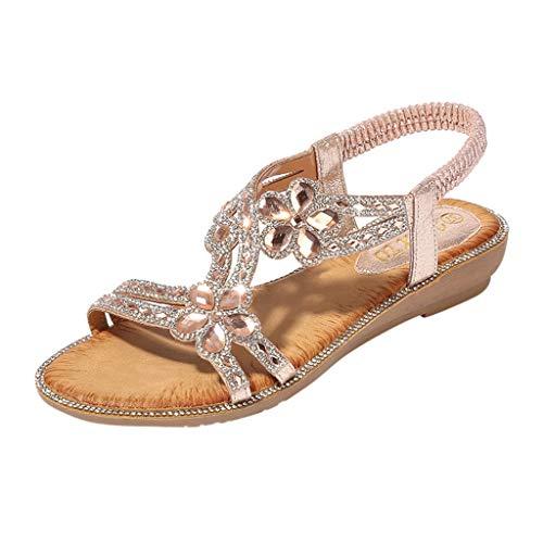 Duseedik Bohemia Summer Women's Sandals Elastic Band Bling Flower Crystal Flat Beach Casual Outdoor Shoes Pink
