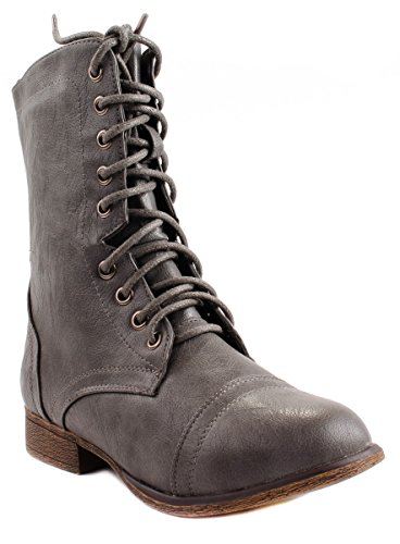 Faux Zipper 62 Women's Ankle Forever Leatherette Side Lace Grey up with Toe Beyonce Round Boots OEEqndw0