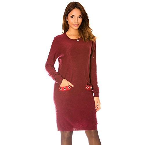 Miss Wear Line - Robe bordeaux avec poches fantaisie