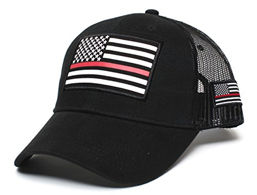 Posse Comitatus Thin RED Line USA Flag Unisex Adult One-Size Cap Hat Black -