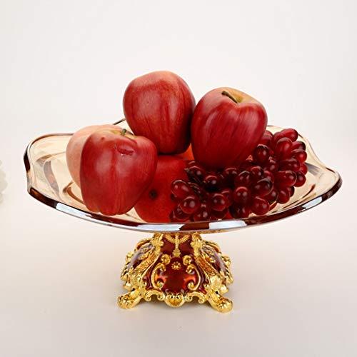 IMBM Crystal Glass Fruit Bowl Dessert Salad Fruit Plate Round Serving Platter With Gold Pedestal Vase Base Decorative Living Room Home Kitchen (Color : B) ()