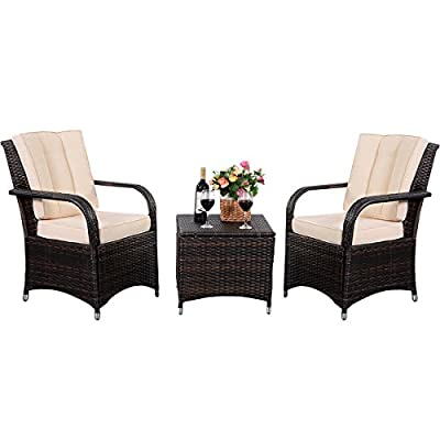 Eight24hours 3 PCS Outdoor Patio PE Rattan Wicker Furniture Set Seat Cushioned Mix Brown