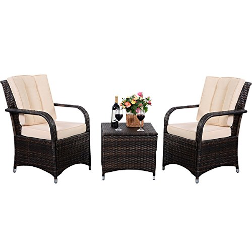3 Pcs Rattan Conversation Set Wicker Seat (Humidor Repair)