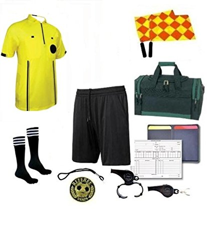 Referee 12 Piece Soccer Package Referee Short Flag Whistles Duffel Bag Coin ... (Yellow, AS)