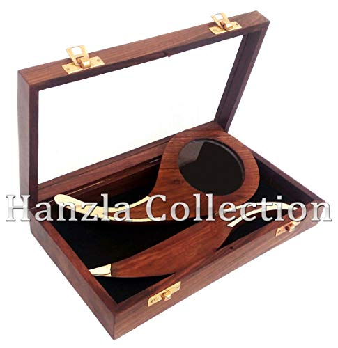 Hanzla Collection Brass Desk Set Letter Opener & Magnifying Glass Wood Handle Magnifier with Box