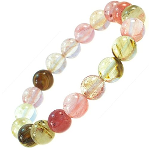 Created Watermelon Tourmaline Gemstone Bracelet 7 inch Stretchy Chakra Gems Stones Great Gifts (Unisex) ()