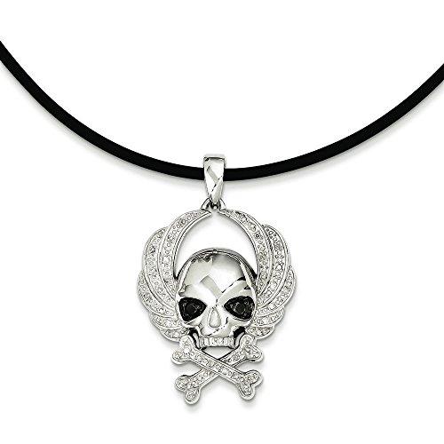 White Diamond Skull Pendant - 925 Sterling Silver Rhodium-plated White & Black Diamond Skull Pendant Necklace 18