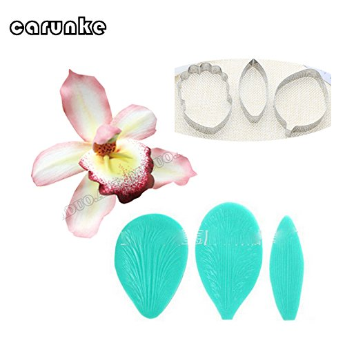 Cymbidium Orchid Petal Flower Cutter Cake Decorating Tools Fondant Mold Cattleya Orchid Petal Veiners Mould