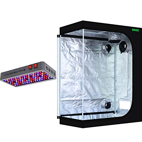 """VIPARSPECTRA 48""""x24""""x60"""" Mylar Hydroponic Grow Tent + UL Certified 450W LED Grow Lights for Indoor Plant Growing and Flowering"""