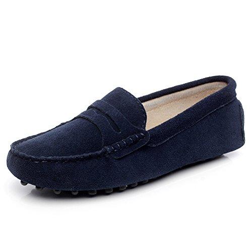 Generic Women's Flat Heel Comfort Black Suede Leather Loa...