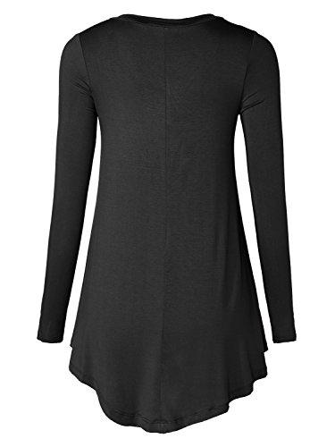 WAJAT Damen Langarmshirt Swing V-Ausschnitt Tunika Stretch Einfarbig-Schwarz S