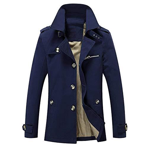 Chaqueta Ligera De Algodón De Moda Casual De Los Chaqueta Coat De Hombres Cuello Alto De Otoño E Invierno Chaqueta De Abrigo De Manga Larga Slim Fit Blau