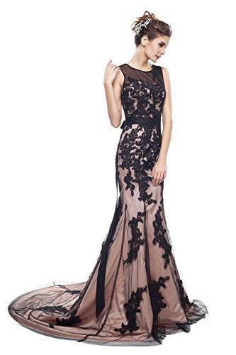Jewel Aufnäher Black Mermaid Abendkleid Damen Empire Champagne Spitze Reißverschluss engerla a6OPn