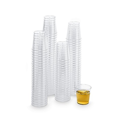 Xplosions 1 oz. Shot Cups, Clear Hard Plastic Cups, Round Party Cups/Tumblers [100 PACK] - Tapered Shot Glass