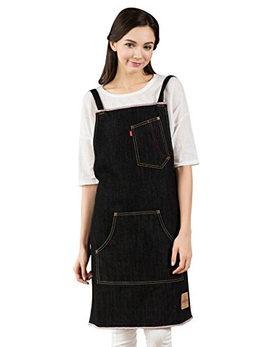 KINIVA Denim Aprons for Men Women, Artist Painting Grill BBQ Kitchen Cooking Chef Work Apron with Pockets, Perfect for Gifts ()