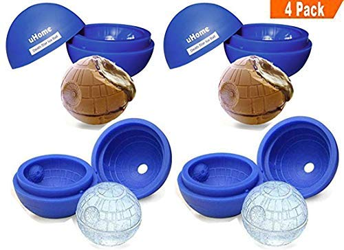 4 Pack Large Ice Ball Mold, Flexible Silicone Ice Ball Tray for Star Wars Death Star Lovers, 5.5X 5.8cm Round Ice Ball Spheres