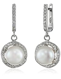 Bella Pearl Sterling Silver, Cubic Zirconia, and Pearl Dangle Earrings