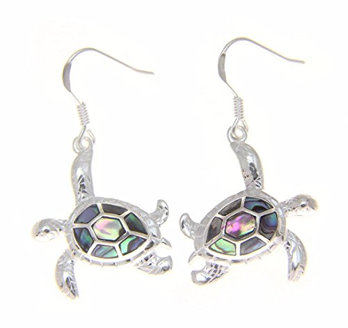 Silver Honu Sea Turtle - 925 Sterling silver Hawaiian honu sea turtle abalone shell paua hook earrings