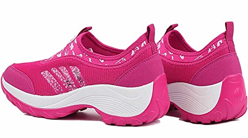 GFONE Women's Mesh Breathable Platform Trainers Casual Sneakers Walking Running Shoes Slip On Pink1 gis200qh4