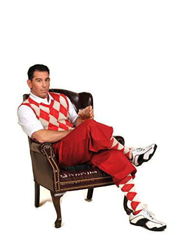 Men's Golf Outfit-Red Knickers, Red/Khaki/White Sweater,Socks,Cap 32L -