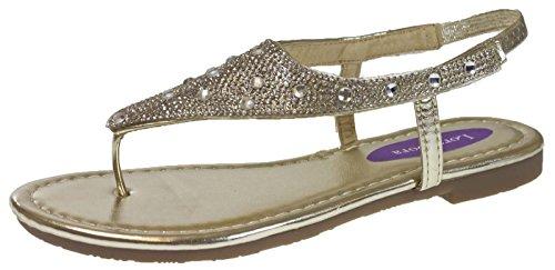 Lora Dora Womens Diamante Sandals Gold