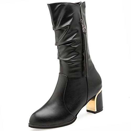 Shoes Fall for Fashion Casual Comfort HSXZ Calf PU Chunky Boots Mid Toe Women's Winter Black Round Black Heel Boots Boots ZHZNVX q0WXwET0