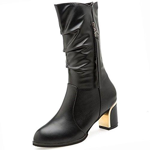 tallone scarponi Stivali HSXZ Nero Black donna tonda Calf pu per Chunky Mid punta moda Casual Autunno Scarpe Comfort Stivali Inverno wrr4qnZvA