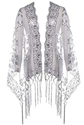 Gray Shawl Wrap In Sequin Fringed