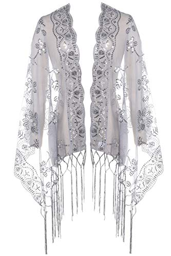 BABEYOND 1920s Shawl Wraps Sequin Fringed Evening Cape Wedding Bridal Shawl Scarf for Evening Dresses Party (Gray)