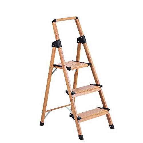 Ladder Library (Delxo Lightweight Aluminum Woodgrain 3 Step Ladder Folding Step Stool Stepladders Home and Kitchen Step Ladder Anti-Slip Sturdy and Wide Pedal Ladders 330lbs Capacity Space Saving (3 feet))