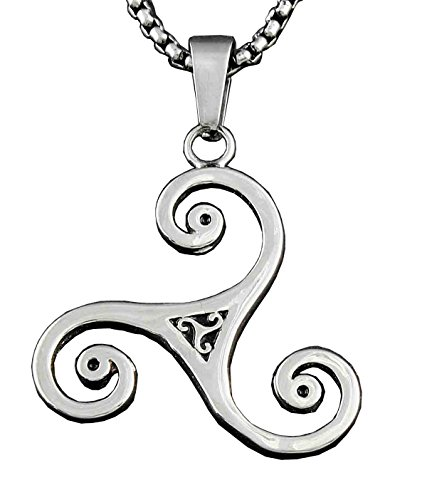 316L Stainless Steel Triskele Triple Spiral Pendant Necklace + Box Chain