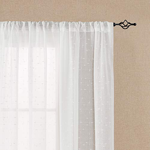 White Sheer Curtains for Living Room Linen Textured for sale  Delivered anywhere in USA
