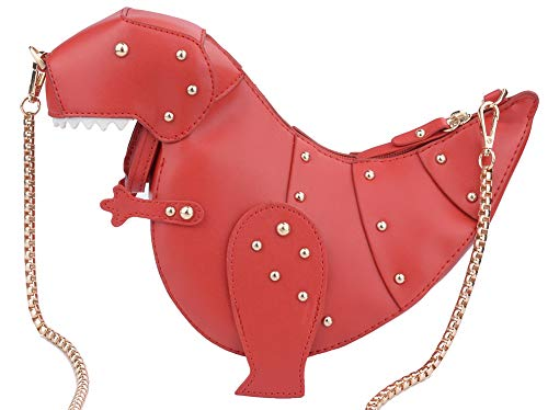 QZUnique Women's Dinosaur Animal Style Chain Shoulder Handbag PU Leather Crossbody Purse Bag with Rivet Embellishment ()