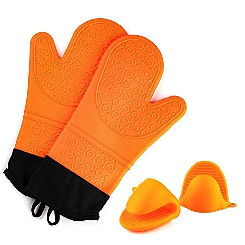 Silicone Oven Mitts and Pot Holders Set,Extra Long Heat Resistant Cooking Oven Gloves Set 1 Pair (14.6 '')with 2 Potholders,Non-Slip Textured Surface