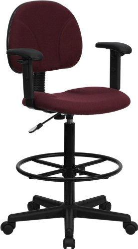 Flash Furniture Burgundy Fabric Drafting Chair with Adjustable Arms (Cylinders: 22.5