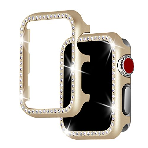For Apple Watch Case 38mm, Falandi Apple Watch Face Case with Bling Crystal Diamonds Plate iWatch Case cover Protective Frame for Apple Watch Series 3/2/1 (Gold-Diamond, 38mm) ()