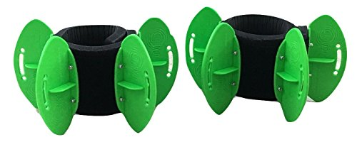 AquaLogix Green High Speed Aquatic Fins - Omni-Directional Water Resistance Exercise for Lower and Upper Body Pool Fitness Programs - Includes Online Demonstration Video (Fins Pair LRGBLS)