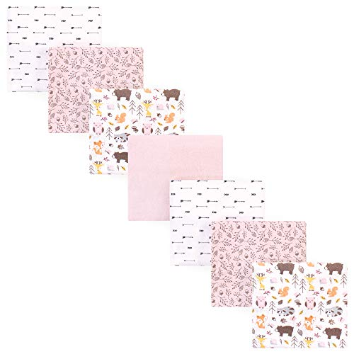 Hudson Baby Unisex Baby Cotton Flannel Receiving Blankets, 7-Pack, Girl Pinecone, One Size