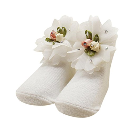 Palarn Newborn Girls Comfortable Floral Cute Cotton Sock Slippers Warm Ankle Socks (White B, (Floral Ruffle Socks)