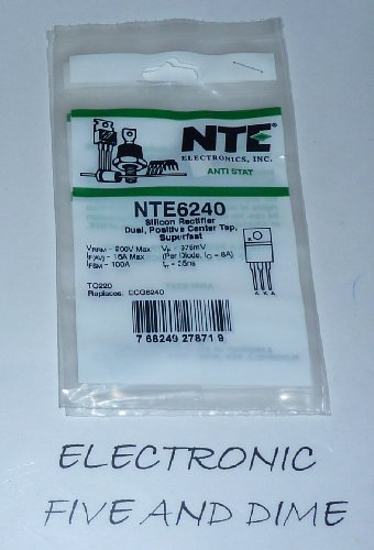 NTE Electronics NTE6240 Silicon Dual Positive Center Tapped Rectifier, Super Fast Recovery, 16 Amps Maximum Average Forward Rectified Current, 200V Maximum Recurrent Peak Reverse Voltage (Recovery Peak)