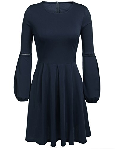 Beyove Women's Elegant A-Line Long Sleeve Pleated Cocktail Party Dress navy blue M